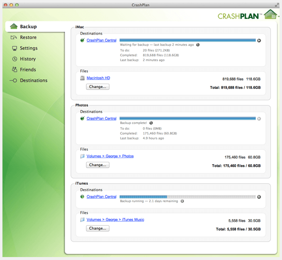 Crashplan - Sets
