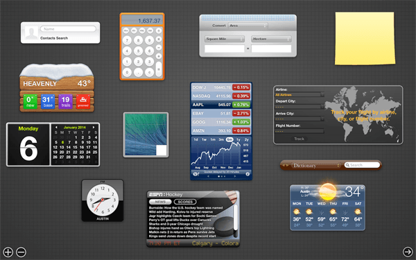 The tired-looking Dashboard in Mavericks