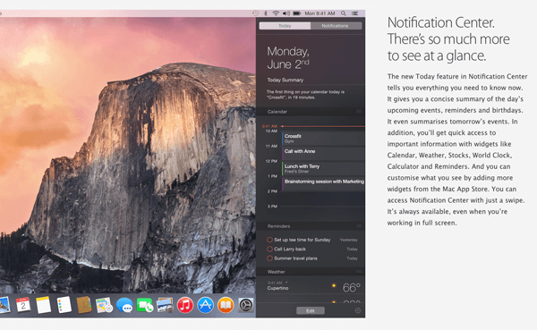 Notification Center in Yosemite as shown on Apple.com